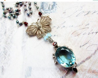 RESERVED MOVING SALE Le Papillon d'Aqua,Vintage Filigree Butterfly,Blue Topaz,Garnets,Peacock Pearls Sterling Silver Statement Necklace