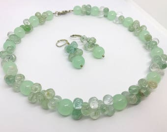 Beautiful handmade modern statement necklace and earrings made with mint green jade and quartz and sterling silver findings