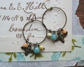Bee Earrings, Beaded Hoop Dangle Earrings Made With Vintage Beads and Brass Bee Charms, Vintage Style Boho Jewelry for Women and Teens