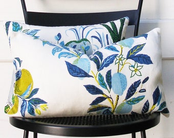 Schumacher Pillow Cover - Citrus Garden by Josef Frank - 10 X 17 1/2 inch - Pool - Decorative Pillow Cover - ready to ship