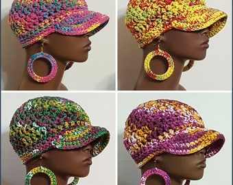 CLEARANCE 100% Cotton Baseball Cap Hat with Hoop Earrings by Razonda Lee Razondalee Ready to Ship