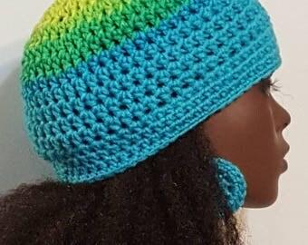 Crochet Skullcap Beanie and Earrings by Razonda Lee Razondalee Blue Green Yellow