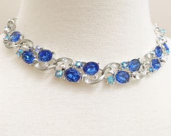 Lisner Rhinestone Choker, Vintage Jewelry, Blue Necklace, Special Occasion Lisner Necklace, Adjustable Rhinestone Necklace, Lisner Jewelry