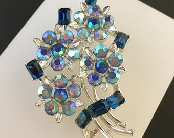 Lisner Brooch, Vintage Jewelry, Aurora Borealis Rhinestone Jewelry, Blue Flower Brooch, Lisner Jewelry, Vintage Brooch, Mid-Century Pin