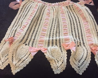 Soft crocheted Apron with cute Pink Ribbon bows and accents (FFs1132)