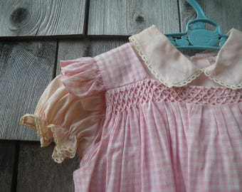 Betti Terrell Baby Girl Dress & Pinafore Smock 1960s Pink Gingham