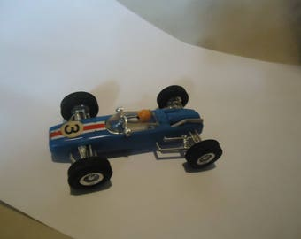 Vintage Blue Plastic BRM 6331 Toy Race Car, Hong Kong, collectable