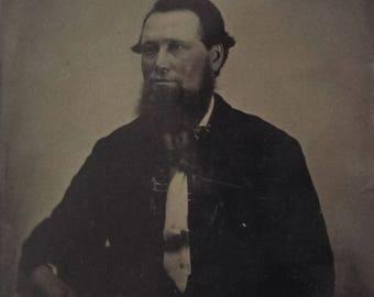 Antique Tintype Half Plate Photograph - Gentleman With Beard