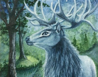 """ACEO Print Stag """"The Forest King"""""""