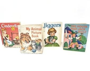 Vintage Children's Junior Elf Books, Cinderella Book, Animal Picture Book, Jiggers Book, House That Jack Built, Rand McNally, 4 Kids Books