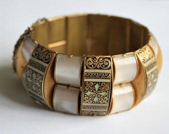 Vintage Toledo bangle. Damascene bangle. Gold and black bracelet. Lucite bangle.  Vintage jewellery. Wide bracelet