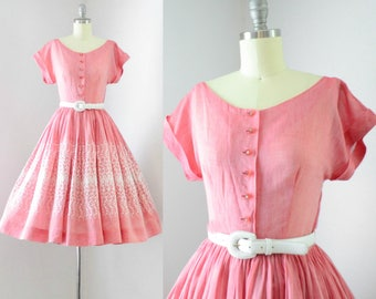 Vintage 1950's Watermelon Pink Embroidered Dress