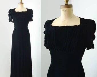 40% OFF SALE - Vintage 1930s Black Silk Velvet Gown