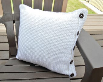 White Crochet Pillow Cover with Wood Buttons Handmade Reversible, Square Throw Pillow Case