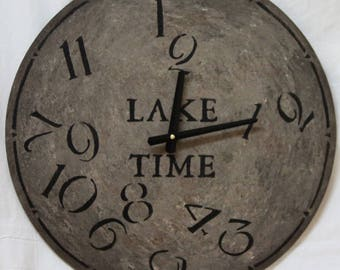 18 Inch LAKE TIME CLOCK in Shades of Gray Highlighted with Jumbled Numbers