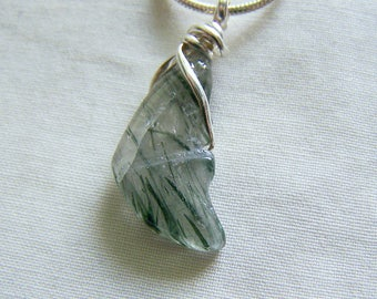 Green Tourmaline Quartz Crystal Carved Butterfly Wing Pendant