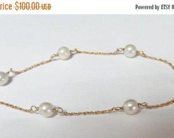 On Sale Vintage Estate 14K Gold Cultured Pearl Chain Link Bracelet