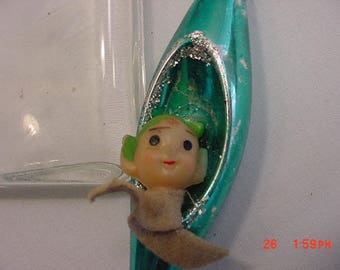 Vintage Elf In Mercury Glass Indent Christmas Tree Ornament  17 - 913