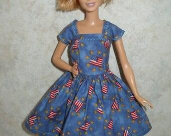 Handmade petite fashion doll clothes -  blue flag print dress
