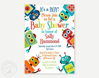 Robot Baby Shower Invitation, It's a boy! Printable Baby Shower Invitation, DIY, Robot shower 0470