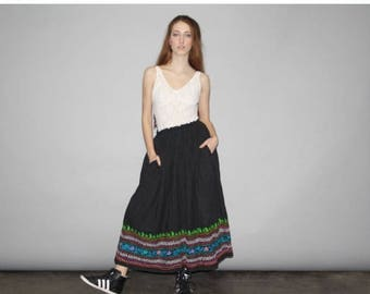50% Off SALE - Vintage 1990s Black Hippie Embroidered Boho Ethnic Skirt  - Vintage Embroidered Skirts - Vintage Rainbow Skirt  - WB0376