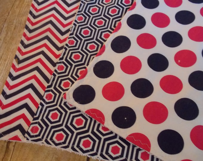 Handmade Burp cloth set - Navy  hot pink prints - set of 3 burp cloths - polka dots - chevron - baby girl burp set - baby girl shower gift