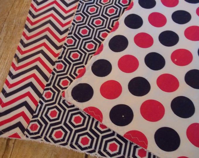Handmade Burp cloth set - Navy  hot pink prints - set of 3 burp cloths - polka dots - chevron - baby girl burp set - baby girl shower gift