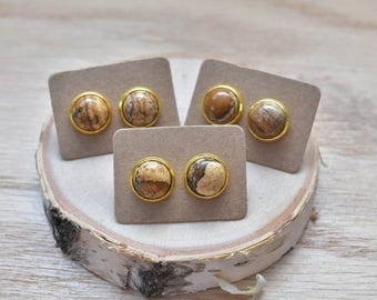 20% EARRING STUD SALE Gold Round Picture Jasper Bezel 12mm Stud Earrings/ Gold Brown Large Round Cabochon Gold Studs/ Natural Gemstone Miner