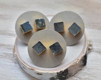 20% EARRING STUD SALE Gold Square Labradorite Stud Earrings/ Gold Stud Post Earrings Natural Labradorite / Natural Gemstone Blue Green Flash