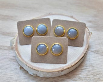 20% EARRING STUD SALE Gold Round Grey Agate Bezel 12mm Stud Earrings/ Grey Agate Large Round Cabochon Gold Studs/ Natural  Gemstone Mineral