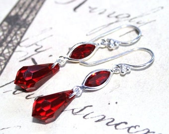 ON SALE Red Teardrop Earrings - Scarlet Red Swarovski Crystal And Sterling Silver Earrings - Siam Red Earrings