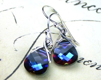 ON SALE Briolette Crystal Earrings in Heliotrope- Purple and Blue - Swarovski Crystal and Sterling Silver