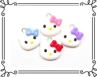 Set of 4 Cold Porcelain Clay Miniature Kitty Charms, White Cat Clay Charms, Purse or Planner Charms, Stitch Makers /DIY Jewelry Accessories