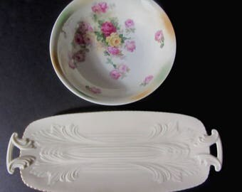2 Vintage Plates - One Floral Bavaria hand painted German & Lenox Serving Tray