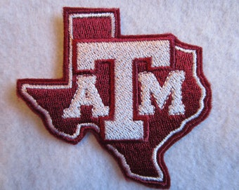 Embroidered Texas A and M Iron On Patch, Iron On Patch, Texas A and M, Football Patch, Texas A and M Football, Iron On Applique