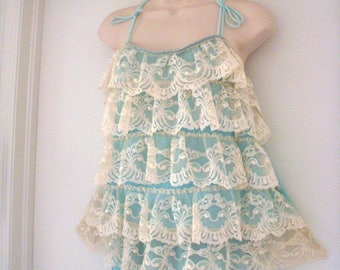 Vintage 1960s Shortie Nightgown with Bloomers - Aqua and Off White Lace Babydoll Nightgown - 60s Lace Pin Up Lingerie - Size Small to Medium
