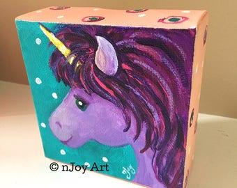 Purple Unicorn -  4x4 Daily Doodle Mini acrylic Painting