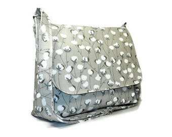 Womens Messenger Purse, Medium Crossbody Bag, Cotton Plant Print Bag, Fabric Purse, Tan Bag, Cross Body Purse, Cotton Handbag, Pocketbook