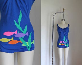vintage 1960s swimsuit - SCHOOL of FISH blue one piece malliot / S/M