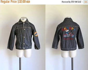 AWAY SALE 20% off vintage toddler's denim jacket - SNOOPY beagle biker club jean jacket / 6/7x