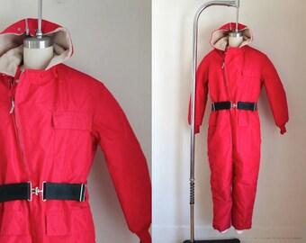 vintage 1970s snowsuit - NORDIC red coveralls / S
