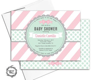 Girl baby shower invitations pink baby shower invite pink mint baby shower little lady baby shower invitation printable printed - WLP00728