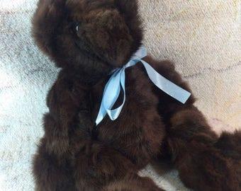 20% SALE Real Fur Teddy Bear Rabbit Fur Dark Brown Teddy Bear Handmade Blue Bow