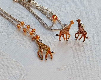 Giraffe Necklace and Earring Set, Cloisonne, Safari, Gift for Her