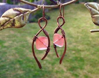 Unique Design Handmade Copper Earrings / Feng Shui Jewelry / Chakra Jewelry /Reiki Energy