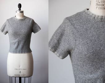 Vtg 90s Cropped Lambswool Angora Short Sleeve Sweater Pale Gray The Limited Grunge XS-S
