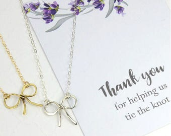 "Wedding Jewelry Gift, Silver or Gold Ribbon Necklace, Bridal Wedding Gift, ""Thank you for helping us tie the knot"" Message Card Jewelry"