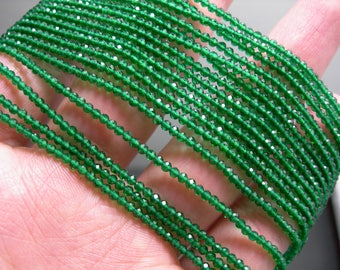 Emerald - 2mm micro faceted round beads - 1 full strand  16 inch 40 cm - 184 beads - AA Quality - Lab created Emerald - PG136