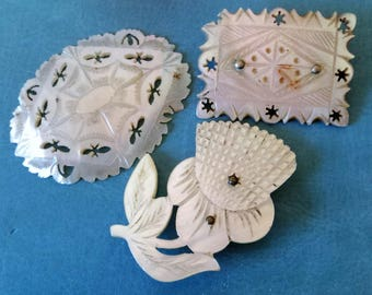 Carved Mother of Pearl Lot... Antique Victorian... Repurpose