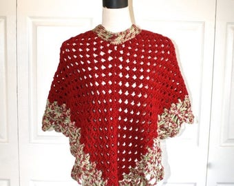 50% OFF SALE Granny Knit Poncho . Vintage 1970s Handmade Crocheted Dark Red Boho Hippie Bohemian Gypsy Poncho Cape . Size Small Medium